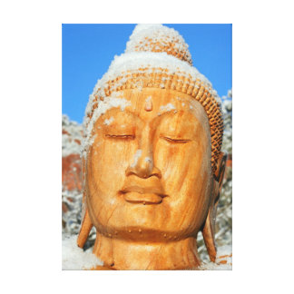 wood buddha head wrapped canvas gallery wrapped canvas