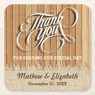 Wood Burlap Thank You Wedding Square Paper Coaster