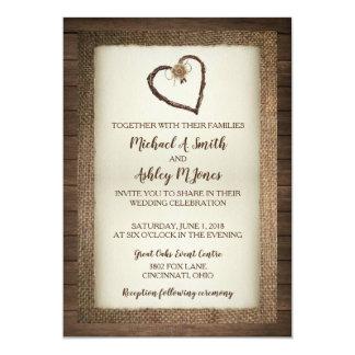 Wood, Burlap & Twine Heart Wedding Invitation