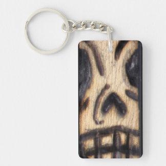 Wood Burned Skull Single-Sided Rectangular Acrylic Keychain