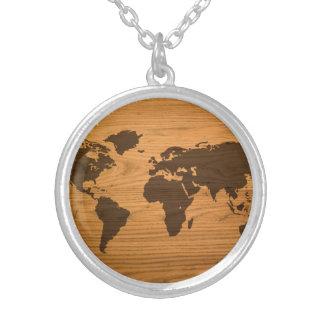 Wood Burned World Map Round Pendant Necklace