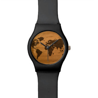 Wood Burned World Map Watches