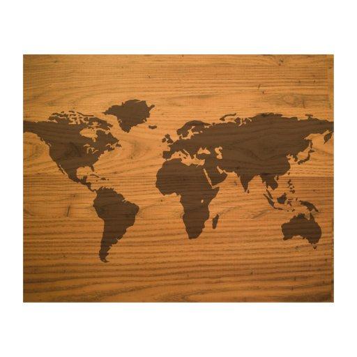 World Map Wall Decor Wood : Wood burned world map wall decor zazzle