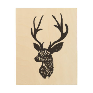 Merveilleux Wood Canvas Wall Art   Deer Head