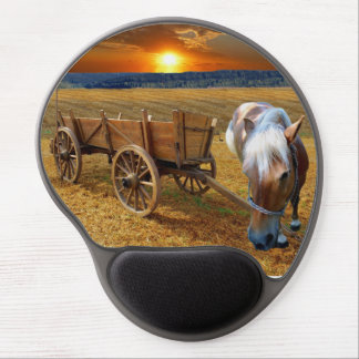 Wood car and horse gel mouse pad