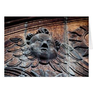 Wood carved Angel Card