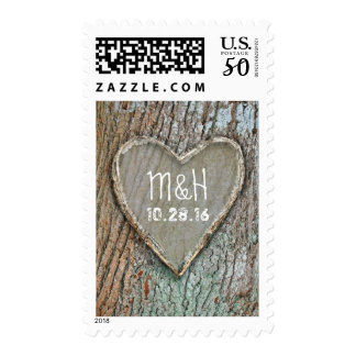 wood carved heart rustic country wedding postage
