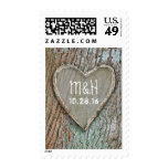 wood carved heart rustic country wedding postage stamps