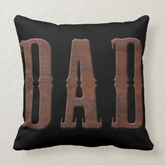 Wood Carved Letters DAD   Father's Day Throw Pillow
