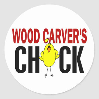 Wood Carver's Chick Round Stickers