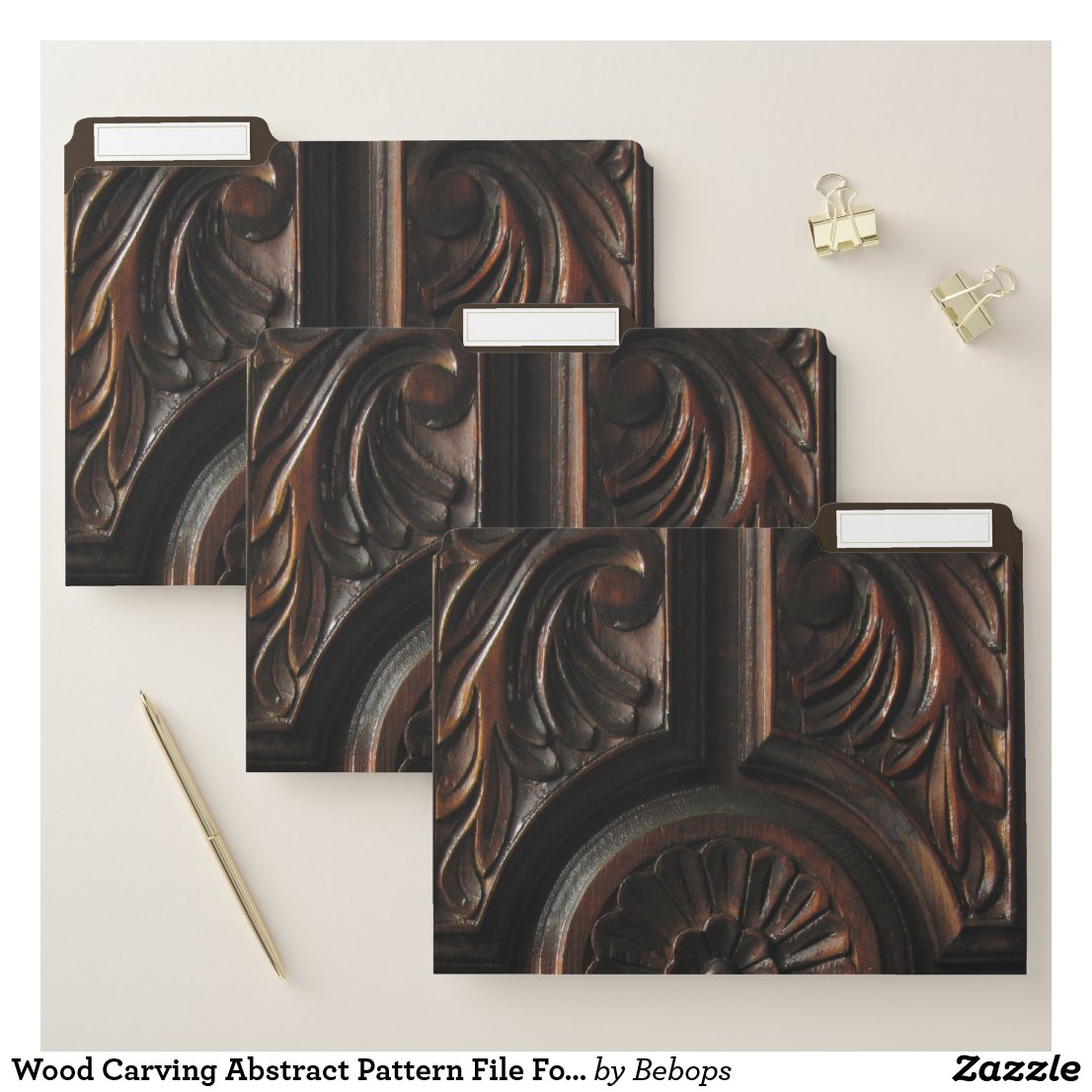 Wood Carving Abstract Pattern File Folder Set