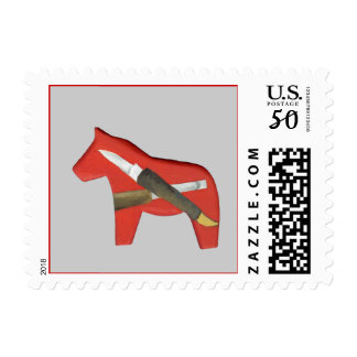 Wood Carving Dala Horse Postage Stamp