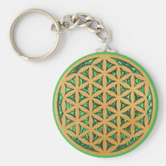 Wood Carving of Flower of Life Keychain