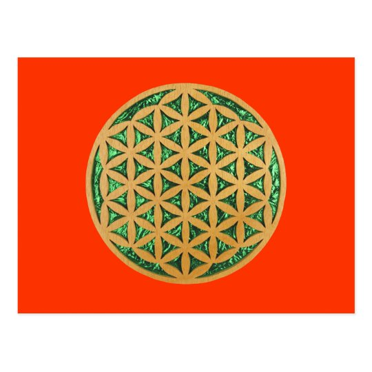 Wood Carving of Flower of Life Postcard