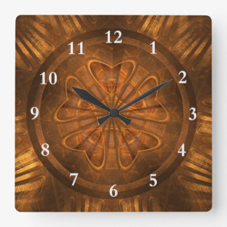 Wood Carving Square Wall Clock