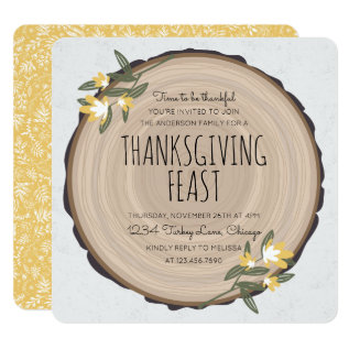 Wood Carving Thanksgiving Invite at Zazzle