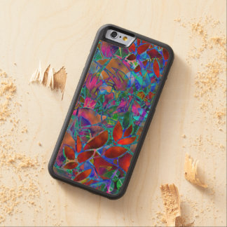 Wood Case iPhone 6 Floral Abstract Stained Glass