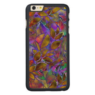 Wood Case iPhone 6 Plus Floral Stained Glass