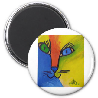 Wood Cat by Piliero 2 Inch Round Magnet