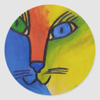 Wood Cat by Piliero Classic Round Sticker
