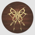 Wood Celtic Butterfly Classic Round Sticker