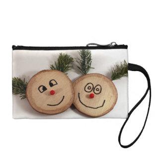 Wood Christmas cute faces Change Purse
