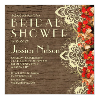 Wood Christmas Snowtime Bridal Shower Card