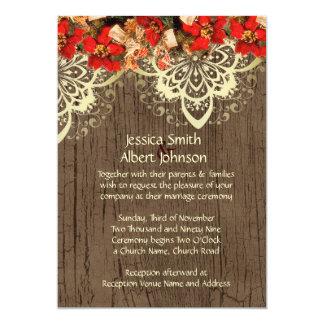 Wood Christmas Snowtime Wedding Invite