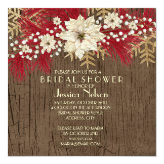 Wood Christmas Spirit Bridal Shower Personalized Invitations