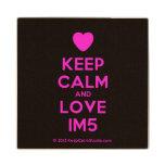 [Love heart] keep calm and love im5  Wood Coaster