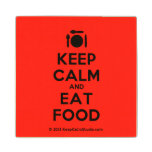 [Cutlery and plate] keep calm and eat food  Wood Coaster