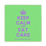 [Crown] keep calm and eat cake  Wood Coaster