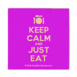 [Cutlery and plate] keep calm and just eat  Wood Coaster