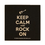 [Electric guitar] keep calm and rock on  Wood Coaster
