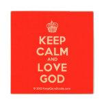 [Cupcake] keep calm and love god  Wood Coaster