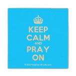 [Crown] keep calm and pray on  Wood Coaster