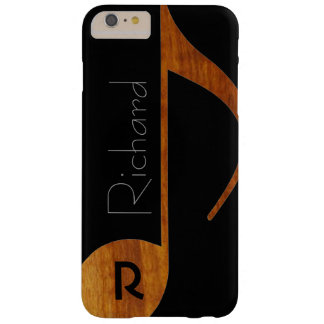 wood-color music note with name barely there iPhone 6 plus case