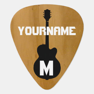 wood-color, personalized guitar pick