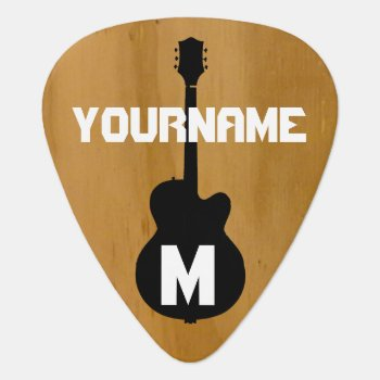 Wood-color  Personalized Guitar Pick by mixedworld at Zazzle