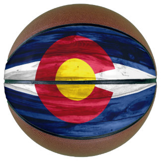 Wood Colorado flag basketball