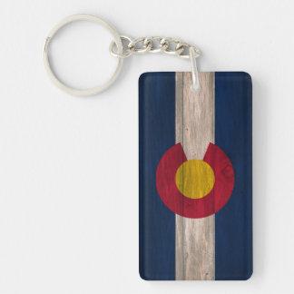Wood Colorado flag double sided keychain