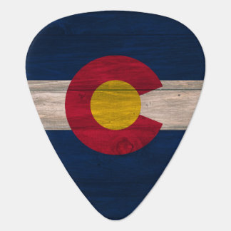 Wood Colorado flag guitar pick