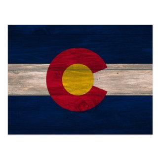 Wood Colorado flag postcard