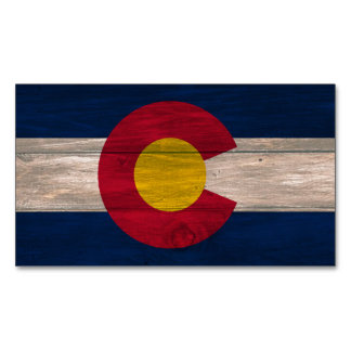 Wood Colorado flag rectangle magnet pack Magnetic Business Card