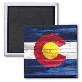 Wood Colorado flag square magnet