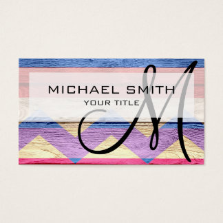 Wood colored aztec chevron pattern #11 business card