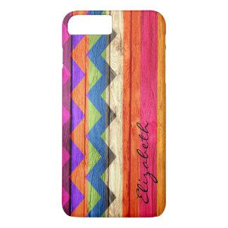 Wood Colored Chevron Stripes Vintage iPhone 7 Plus Case