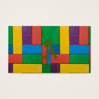 Wood,colorful,building blocks,kids,fun,happy,retro business card