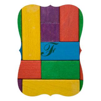 Wood,colorful,building blocks,kids,fun,happy,retro card