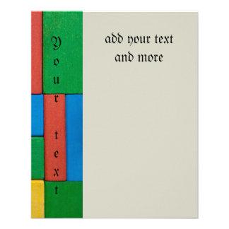 "Wood,colorful,building blocks,kids,fun,happy,retro 4.5"" x 5.6"" flyer"